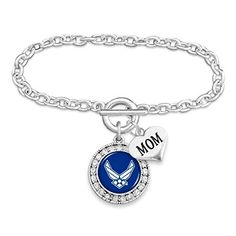 Air Force Mom Leather Bracelet with Round Logo U.S Charm and Lobster Clasp