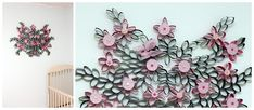 How to DIY 3D Paper Roll Flower Wall Art | www.FabArtDIY.com