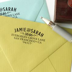 Custom return address stamp, glad it doesn't have a last name. Can use it before and after a wedding.