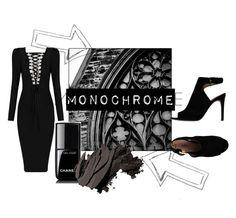 """mono"" by ginewwra on Polyvore featuring moda, Tory Burch, Chanel, Bobbi Brown Cosmetics i monochrome"