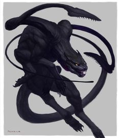 Displacer Beast - The 10 Most Memorable Dungeons & Dragons Monsters Mythical Creatures Art, Alien Creatures, Magical Creatures, Mystical Creatures Drawings, Dark Creatures, Monster Concept Art, Monster Art, Creature Concept Art, Creature Design