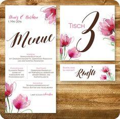 Menükarte, Tischkarte Und Platzkarte Vintage Hochzeit, Floral, Individuell  Designed By Die Kartenfrau