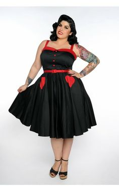 Betsey Swing Dress in Black and Red - Plus Size