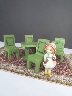 Strombecker Wood Dining Room Doll Furniture Set, Green, Set of 5 Pieces, Vintage Doll Accessories by UrbanRenewalDesigns on Etsy