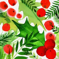 Margaret Berg Art: Holiday Foliage Square