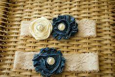 Ivory and Denim Wedding Garter Set Bridal by ThePinkBunnyWeddings, $18.99