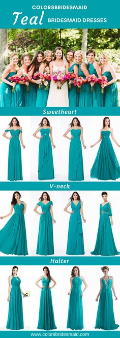 Teal bridesmaid dresses in sweetheart, V-neck, halter styles in 2018 new fashion are custom made to all sizes and sold under $100 with perfect fitting and great quality at Colorsbridesmaid.com.  #colsbm #bridesmaids #weddings #tealweddings