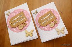 Osterkarte-OStern-Karte-Easter-Card-Schmetterling-Frohe-Ostern-Knopf-Knöpfe-Tags-Doily-Doilies-rosa-geprägter-Cardstock-geprägt-Herz-Herzen-Hintergrund-Frühling-Gruß-Klappkarte-Doppelpack