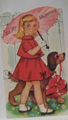 Vintage Valentine Card Girl