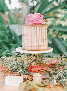 Wedding Cakes : Picture Description One of three wedding cakes by Groovy Deliciousness; love the foliage on the table; Autumn Inspiration, Wedding Inspiration, Mon Cheri Bridal, Fair Photography, Wedding Decorations, Table Decorations, Bride Bouquets, Autumn Wedding, Wedding Trends