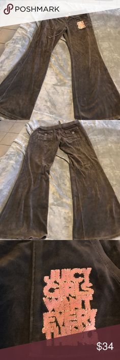 """Juicy Couture size XL velour pants Juicy Couture size XL velour pants. Chocolate brown very pretty. Nice pre loved condition (see pics) from smoke free home. Approx measurements laid flat- waist 16"""", rise 8"""", inseam 31"""", width of bottom of leg 12.5"""". Fast shipping Juicy Couture Pants Track Pants & Joggers"""