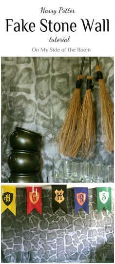 How to make a Harry Potter Fake Hogworts Castle Wall using some fabric, spray paint a few other easy to find supplies