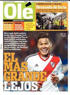 """""""El más grande lejos"""", dice la portada de diario Ole con Teo Gutiérrez como protagonista."""
