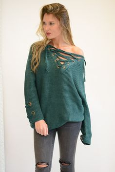 Chloe Teal Lace Up Sweater