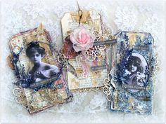 I created three vintage tags using two beautiful Scrapiniec collections…