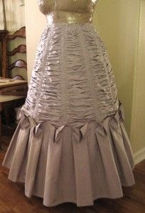 This is an elaborately ruched skirt, for those with lots of fabric and time.  I love the effect, though.