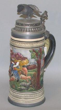 Pottery; Thewalt, Stein, Flight Scene, Cheruskan Prince Arminius, Eagle, Pewter Lid, 1.5 Liter.