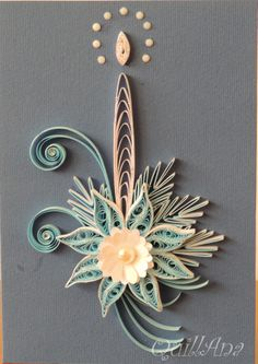 quilled candle and pointsettia
