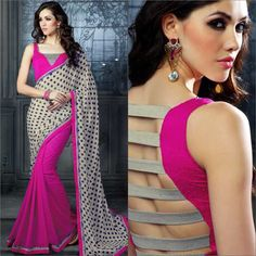 Brocade blouse executed quite well! Saree is okay, but blouse is fantastic. Blouse Designs High Neck, Choli Blouse Design, New Blouse Designs, Sari Design, Stylish Blouse Design, Choli Designs, Kurta Designs Women, Latest Saree Blouse, Designer Blouse Patterns