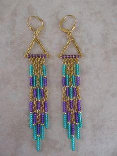 Seed Bead Chain Earrings Modern Native American by pattimacs