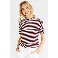Silence + Noise Jackie Mock-Neck Tee ($34) ❤ liked on Polyvore featuring tops, t-shirts, maroon, relax t shirt, relaxed tee, stretch t shirt, white short sleeve t shirt and relaxed fit tee