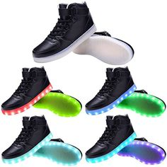 watch 1ad38 32371 KidsandAdult 11 Colors LED Light Up Shoes High Top Flashing Sneakers For  Christmas    Details