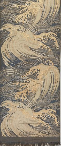 Obi with Stylized Waves Period: Meiji period (1868–1912)