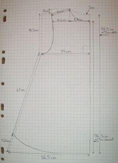 """Bonjour... Voici le patron de la tunique précédente bleue """"Jeans"""" (ainsi que de la tunique marron à pois ). C'est une base qui est modifiable pour permettre de créer tuniques courtes ou longues, robes, vestes, etc...Il suffit de modifier la longueur,..."""