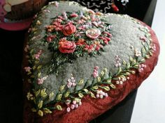Wonderful Ribbon Embroidery Flowers by Hand Ideas. Enchanting Ribbon Embroidery Flowers by Hand Ideas. Embroidery Hearts, Silk Ribbon Embroidery, Cross Stitch Embroidery, Embroidery Patterns, Hand Embroidery, Crazy Quilting, Fabric Hearts, Ribbon Art, Ribbon Flower