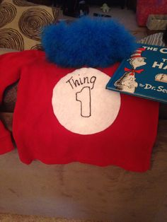 Thing 1/2 Craft store $1 foam visor feather boa hot glue  Felt and some puff paint pinned to shirt.   Easy storybook parade costume