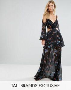 3e799368f Vestido largo con hombros descubiertos y estampado floral oscuro Premium de  White Cove Tall  fashion
