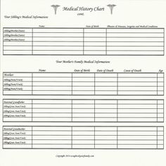 health history form templates