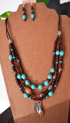 Diy Jewelry, Beaded Jewelry, Jewelery, Jewelry Making, Diy Necklace, Crochet Necklace, Hippie Chic, Leather Jewelry, Turquoise Necklace