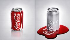 Creative Melting, Coca, Cola, Funny, and Picture image ideas & inspiration on Designspiration Coca Cola Drink, Cola Drinks, Coca Cola Can, Always Coca Cola, Pepsi Cola, Photomontage, Sac Recyclable, Coca Cola Wallpaper, Fruit Water