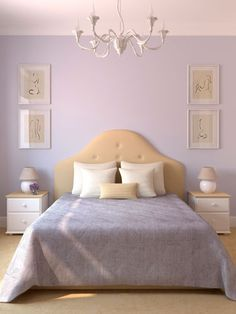 Visual Interest - framed art doesnt hv to be right above the bed. Lilac walls and clean simple bedding.