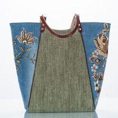 herringbone knit and floral denim front