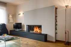 fireplace with seat