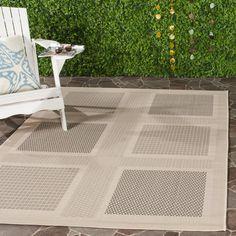 Courtyard Sand/Black (Brown/Black) 6 ft. 7 in. x 9 ft. 6 in. Indoor/Outdoor Area Rug