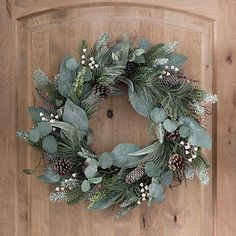 christmas wreaths Sparkling Berry and Eucalyptus Leaf Wreath Christmas Wreaths For Front Door, Xmas Wreaths, Christmas Mantels, Noel Christmas, Rustic Christmas, Christmas Crafts, Christmas Decorations, Holiday Decor, Winter Wreaths