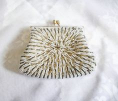 Beaded Evening Bag  White and Gold Metallic by EmbracingYesterday, $45.00