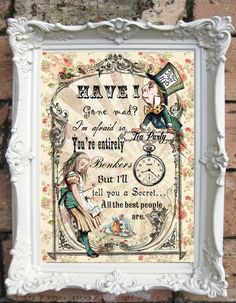 ALICE au pays des merveilles Wall Art. Alice au pays des merveilles devis impression. Shabby Chic décor. Alice Tea Party. Mad Hatter Vintage Alice Print Code : A019