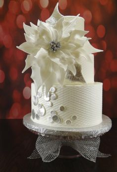 Merry Christmas! ~ modern winter wedding - by CakeHeart @ CakesDecor.com - cake decorating website