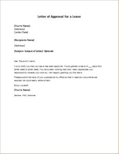 letter of approval for a leave download at httpwriteletter2com