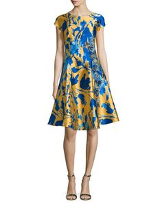 Short-Sleeve+Floral+Jacquard+Fit+&+Flare+Dress++by+Sachin+&+Babi+Noir+at+Neiman+Marcus.