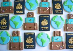 One Dozen Retro Travel Sugar Cookies First Birthday Party Birthday Cookies, Cupcake Cookies, Sugar Cookies, Frosted Cookies, Travel Cake, Travel Party, Sugar Cookie Royal Icing, Cookie Designs, Cookie Ideas