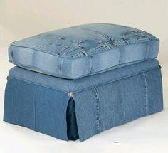 LegendBlues, denim upholstered ottoman (upcycled jeans)