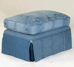 LegendBlues, denim upholstered ottoman (upcycled jeans)--  something like this for ottomans; strips of old jeans, not complete fronts.
