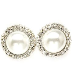 ROUND SILVER CRYSTAL & PEARL STUD EARRINGS - BRIDAL WEDDING JEWELLERY on eBay!