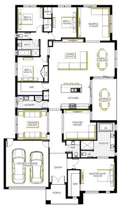 Floorplan - kitchen, living, meals, theatre, main bed etc. Take out lounge and theatre room. Make garage school room. Put shop on left side? 4 Bedroom House Plans, Family House Plans, Best House Plans, Dream House Plans, House Floor Plans, Single Storey House Plans, Carlisle Homes, Indian House Plans, Model House Plan