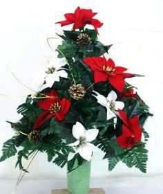 Beautiful Red & White Poinsettia's Christmas Cemetery Flower Arrangement